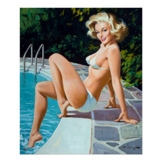 Poolside Pin Up Poster