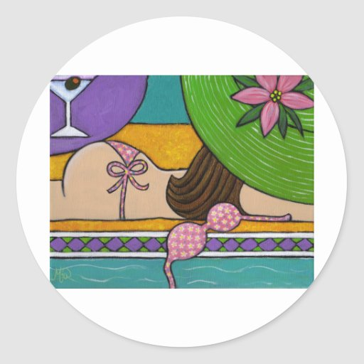 Poolside Playtime Classic Round Sticker