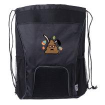 Poop Emoji Easter Bunny Ears Funny Drawstring Backpack