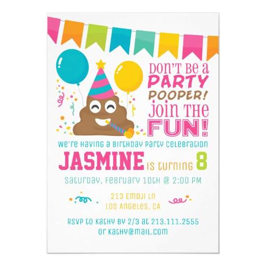 Poop Emoji Funny Birthday Party Invitation