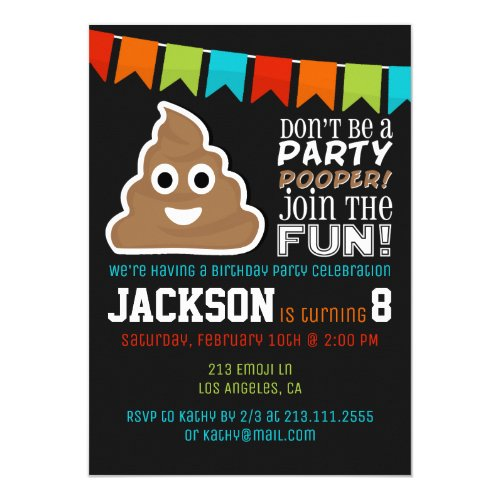Poop Emoji Funny Boys Birthday Party Invitation