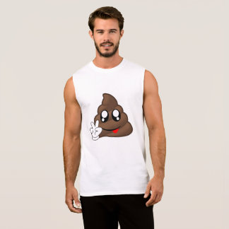 Poop Emoji Peace Sign Hands Sleeveless Shirt