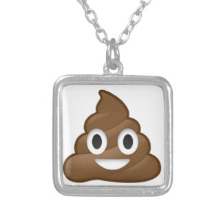 poop emoji silver plated necklace