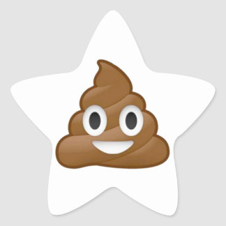 Poop emoji star sticker