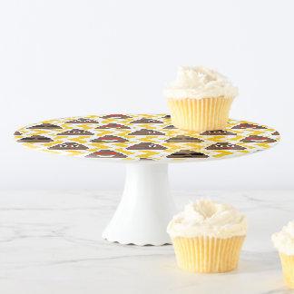 Poop Emojis Yellow Zig Zag Patterned Cake Plate