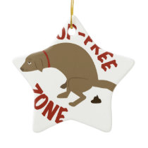 Poop-Free Zone Ceramic Ornament