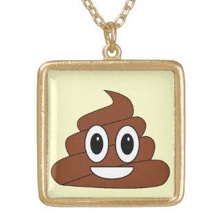 Poop smiley square pendant necklace