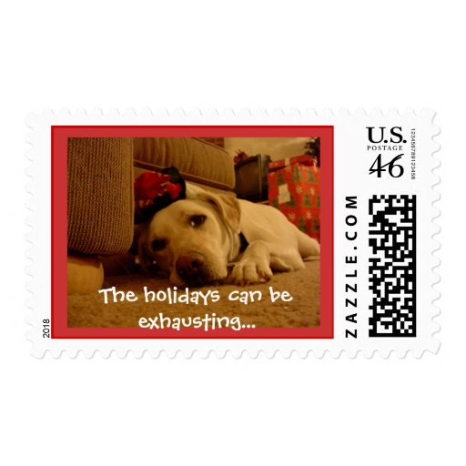 Pooped Holiday Pooch Postage Stamp