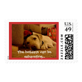Pooped Holiday Pooch Postage Stamps