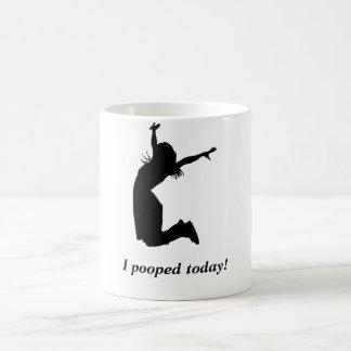 """¡Pooped hoy! Mujer divertida de la taza """"pooped"""