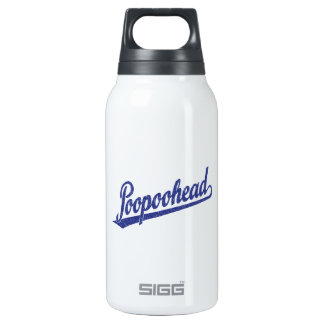 Poopoohead Script Logo in Distressed Blue Thermos Bottle