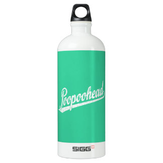 Poopoohead Script Logo in Distressed White Aluminum Water Bottle
