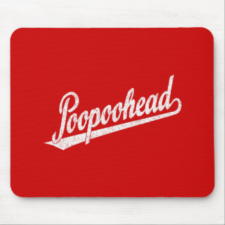 Poopoohead Script Logo in Distressed White Mouse Pad