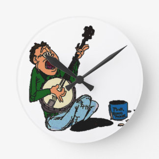 Poor Banjo Picker Round Clock