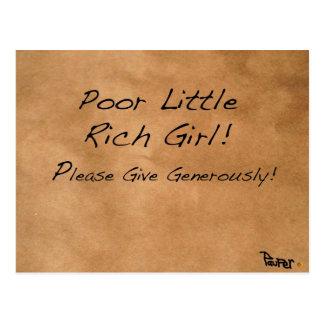 POOR LITTLE RICH GIRL BEG CARDS! POSTCARD
