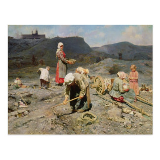 Poor People Gathering Coal Postcard