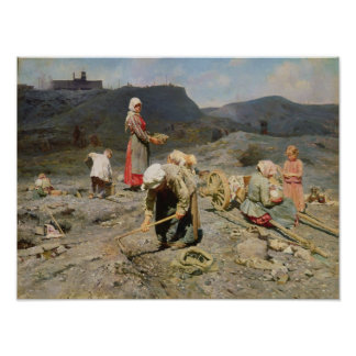 Poor People Gathering Coal Poster