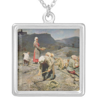 Poor People Gathering Coal Silver Plated Necklace