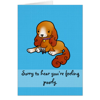 Poorly paw get well soon greeting card
