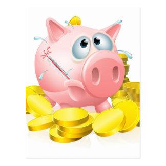 Poorly piggy bank concept postcard