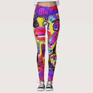 Pop Art  Abstract Bugs  Leggings by Katie Pfeiffer