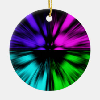 Pop Art abstract four colours. Warp drive space Ceramic Ornament
