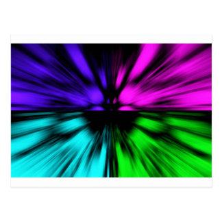 Pop Art abstract four colours. Warp drive space Postcard