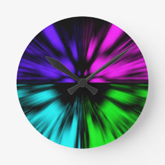 Pop Art abstract four colours. Warp drive space Round Clock