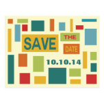 Pop Art Abstract Save The Date Postcard