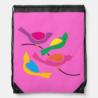 Pop Art Abstract Song Birds Pink Cinch Bag