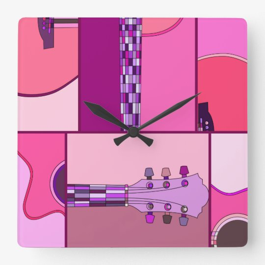Pop Art Acoustic Guitar in Pink and Purple Square Wall Clock
