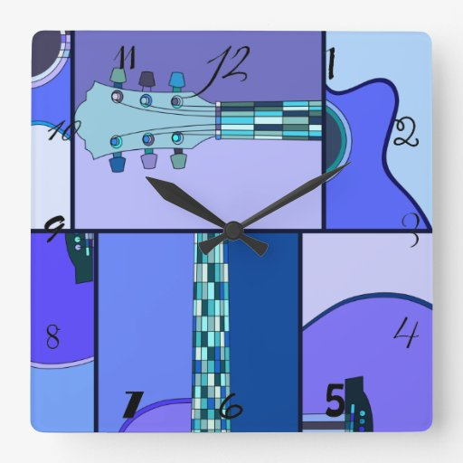 Pop Art Acoustic Guitar in Shades of Blue Clock