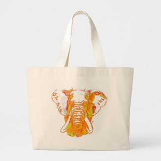Pop Art African Elephant Large Tote Bag