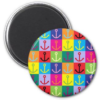 Pop Art Anchor 2 Inch Round Magnet