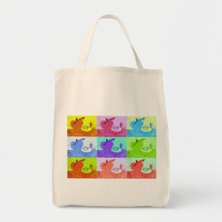 Pop Art Apples Canvas Tote Grocery Tote Bag