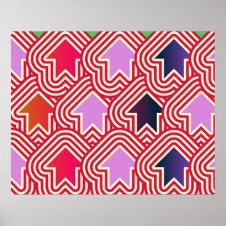 Pop Art Arrows Up Red Violet Blue Poster