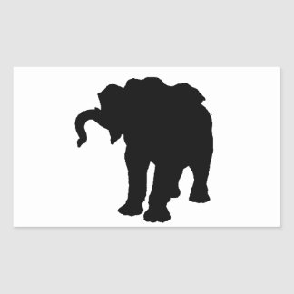 Pop Art Baby Elephant Silhouette Rectangular Sticker
