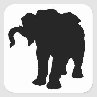 Pop Art Baby Elephant Silhouette Square Sticker