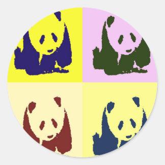 Pop Art Baby Pandas Classic Round Sticker