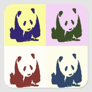 Pop Art Baby Pandas Square Sticker