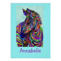 pop art baby zebra personalizable poster