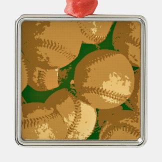 Pop Art Baseball Metal Ornament