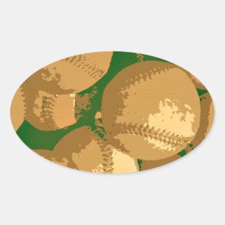 Pop Art Baseball Oval Sticker