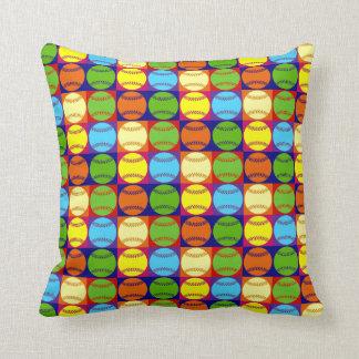 Pop Art Baseballs Pattern Throw Pillow