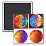 Pop Art Basketball 2 Inch Square Magnet