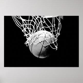 Pop Art Basketball Ball & Net Print Poster
