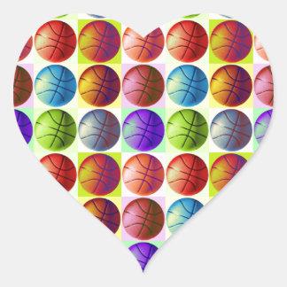 Pop Art Basketball Heart Sticker