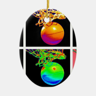 Pop Art Basketball Double-Sided Oval Ceramic Christmas Ornament