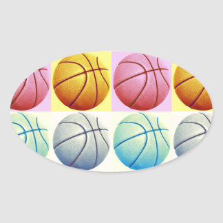 Pop Art Basketball Oval Sticker