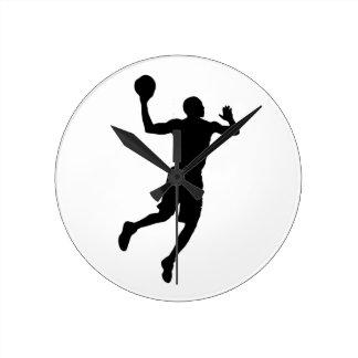 Pop Art Basketball Player Silhouette Round Wall Clock